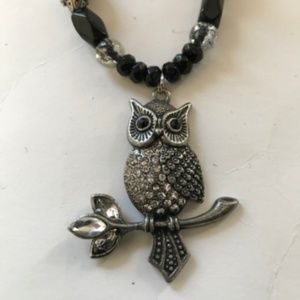 Handmade Beaded Owl Necklace Black Silver Crystals